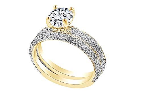 - 1.03 Carat Round Shape White Natural Diamond Semi Mount Wedding Ring Set 18K Solid Yellow Gold Ring Size-7
