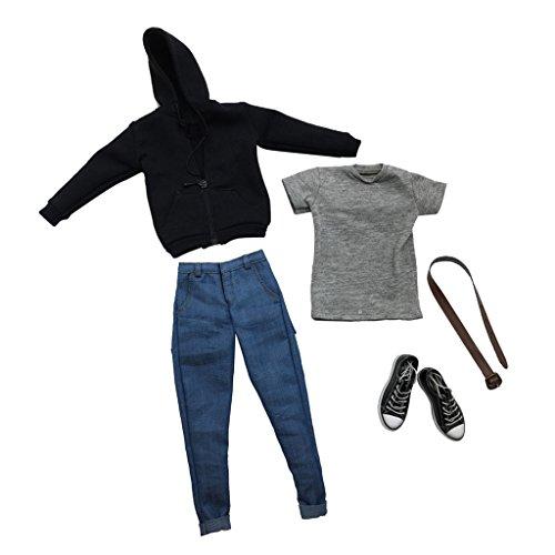 Baoblaze 衣類キット 人形用 1/6スケール メンズ服 Tシャツ ジーンズ 黒いパーカー