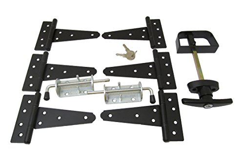 """Shed Door Hardware Kit #1, T Hinges 5"""", T-Handle, New Heavy Duty Barrel Bolts"""