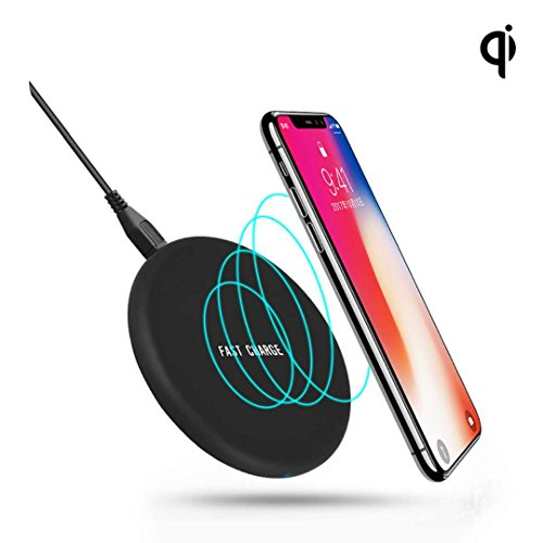 Hishell iPhone X Qi Wireless Charger, Qi Fast Wireless Charging Pad (NO AC Adapter) for Galaxy Note 8 S8 S8 Plus S7 Edge S7 Note 5, Standard Charge for iPhone X iPhone 8 iPhone 8 Plus
