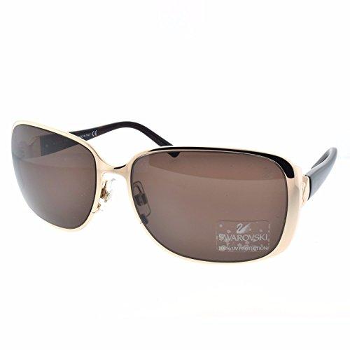Swarovski SK0024-28E-61 (Brown Lens / Metal/ poly-carbonate Frame) Women's - Sunglasses In Shade The Made