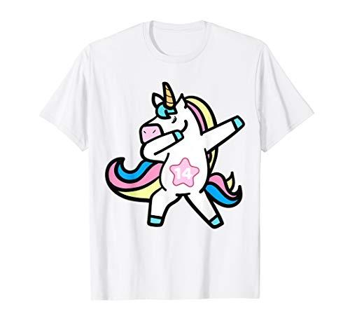 Unicorn Cute Dabbing 14th Birthday Shirt