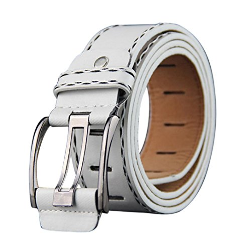 Price comparison product image Fashion Mens Leather Smooth Girdle Buckle Waistband Waistband Leisure Belt Strap by Sunfei (White)