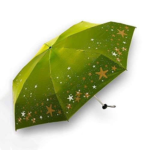 Ultra-light Umbrella Rain Women Anti-UV Mini Five-folding Umbrella Pocket Parasol Sunny and Rainy Umbrella,Green