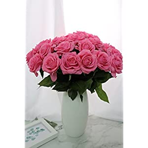 KISMEET Artificial Roses Fake Silk Flowers Real Touch Long Stem for Wedding Party Home Office Outdoor Craft Decoration, Pack of 10 (Pink) 2