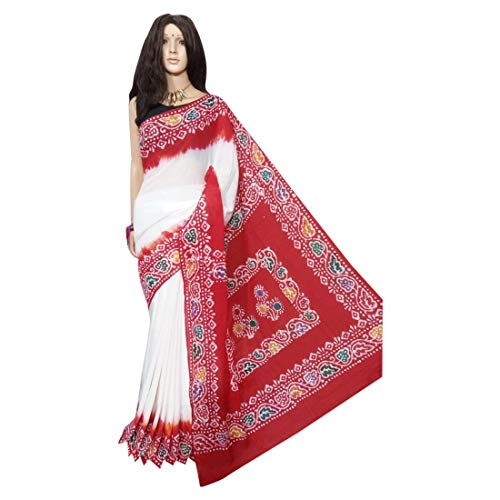 Red & White Beautiful Hand Printed Batik Cotton Saree Casual Sari Blouse Designer Women Indian Ethnic From West bengal 144a