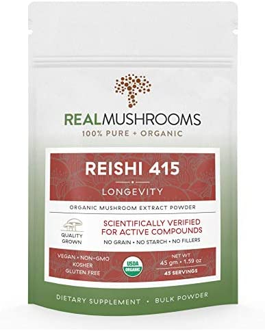 Reishi Mushroom Extract Powder by Real Mushrooms – Certified Organic – Ganoderma Lucidum Ling Zhi – Immune Booster – 45g Bulk Reishi Mushroom Powder – Perfect for Shakes, Smoothies, Coffee and Tea