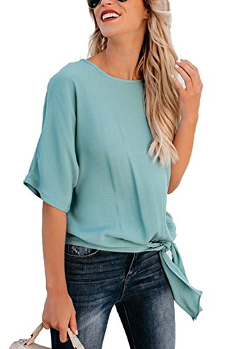 Assivia Womens Blouse Casual Tie Front Knot Loose Fit Half Sleeve Tee Top T-Shirt Blouses (Blue, XL)