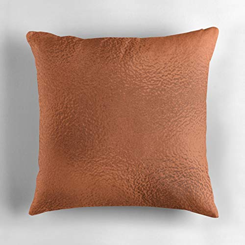 Biekxrso Simply Metallic in Deep Copper Bronze Solid Square Throw Pillow Case Cover Personalized Cushion Cover Pillowcase Pillow Cover Gift Double-Sided Printed 18x18 Inches ()