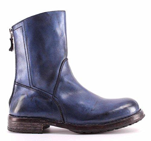 Zapatos Mujer Botas MOMA Boots 86502-6C Ghost Blu Piel Azul Vintage Made Italy