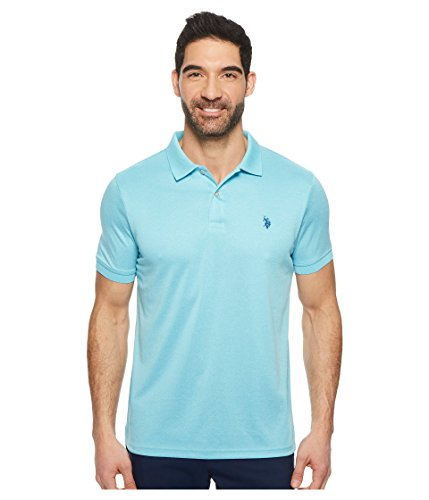 U.S. Polo Assn. Men's Solid Interlock Short-Sleeve Polo Shirt, Artist Aqua Heather-3045, X-Large