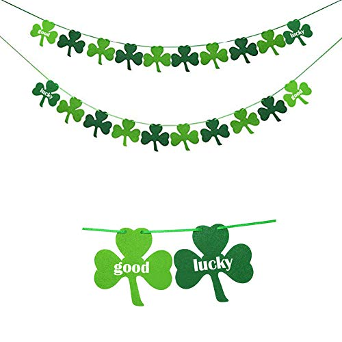 Bozoa St. Patrick 's Day Banner - Felt Shamrock Clover Garland Banner Flags Irish Day Party Supplies Good Lucky Decorations (Pack of 2) Green and Light Green Color