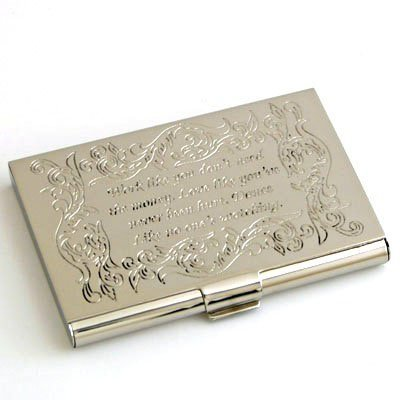 Nickel Inspirational Credit Card Box, Business Card Holder 4073b
