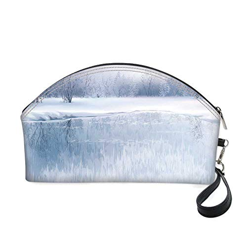 Winter Small portable cosmetic bag,Icy River with Barren Snowy Forest Digital Artwork Frost Cold Weather Winter Season for Women,10.8