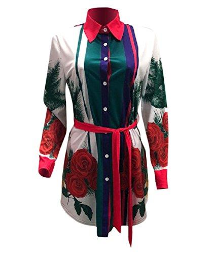 Fiore Bianco Stampa Partito Con Vestito Salone Moda donne T Cintura Sexy shirt Della Di Da Coolred 7wSTxf