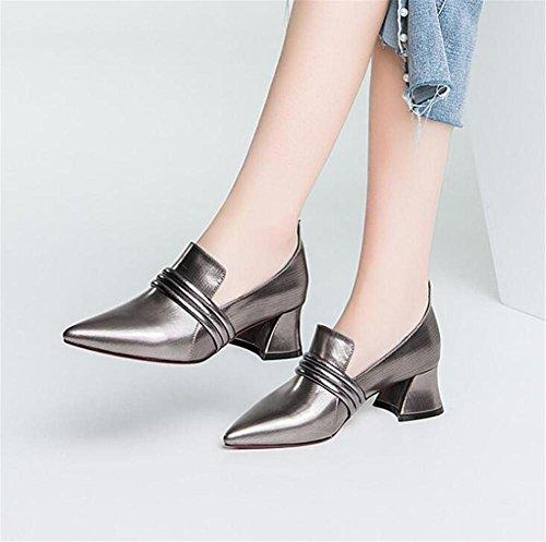 Chaussures En Carrière Taille Cuir Ballerine Bureau Talon Silver De Véritable 35to42 Faible Femmes Mocassins Et d84fgdnw
