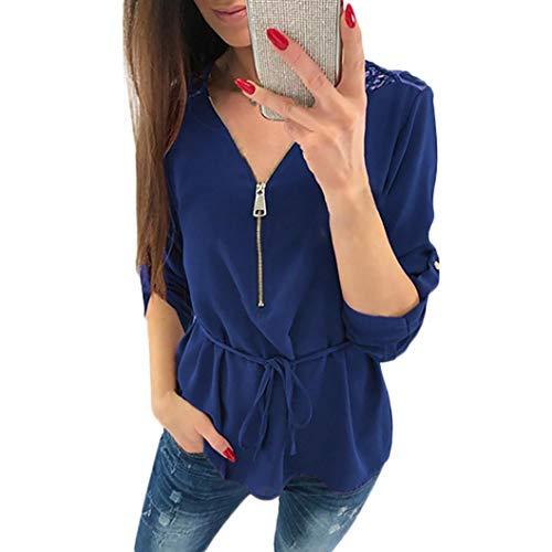 Femmes Blouse Innerternet Shirt Vrac Casual V Top Bleu Tee Tops en Zipper Shirt Fonc T Neck Femmes Dentelle Chemisier p56qw5B