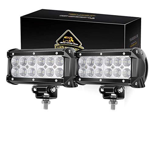 TURBO SII LED Light Bar 2 Pcs 6.5 inch 36w 3600 Lumens LED Flood Light for Off-road Rv Atv SUV Boat 4x4 Jeep Lamp Tractor Marine Off-road Lighting (pack of 2) ()