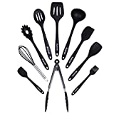 Kayose Premium Silicone Kitchen Utensil Set - 10-Piece Heat Resistant Non-Scratch Cooking Essential Accessories Bundle - Great for Cooking & BBQ - Ergonomic Handle Design - Classic Black