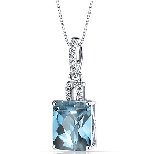 (14K White Gold Swiss Blue Topaz Pendant Radiant Cut 3.50 Carats)
