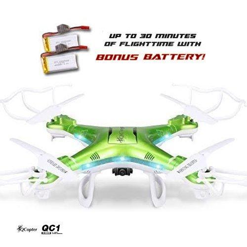 Qcopter Qc1 Quadcopter Drones With Hd Camera Led Lights Green Drone *Bonus Ba.. 18