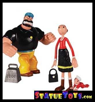 Popeye Mini Action Figure - Olive Oyl and Bluto -
