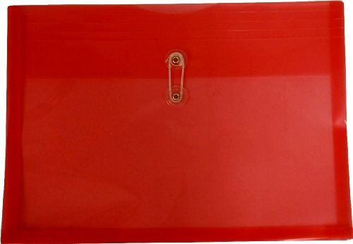 Filexec Poly envelope, Legal size, Side load, Button string closure ,Red (Pack of 6) (50067-15102) ()