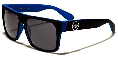 Black Blue Biohazard Ribbed Face Vintage Shades Men'S Fashion - Sunglasses Independent Italian