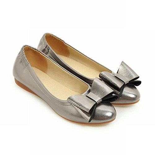 Charm Foot Womens Sweet Bows Scarpe A Punta Piatte Pompe Grigie