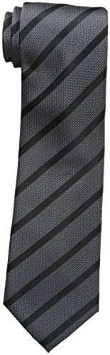 Sean John Men's Diamond Texture Stripe Tie, black, One Size