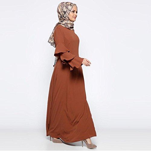 ... Islamische Zarupeng Muslimische Kleid, Damen Einfarbig Maxi-Kleid  Tunikakleid, Lange Horn Ärmel, ... b97fedd102