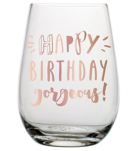 Birthday Wine Glass - 20 oz Happy Birthday Gorgeous Stemless Wine (Birthday Girl Wine)
