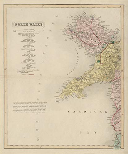 North west Wales Coast Antique map by J & C Walker. Anglesey. Railways - 1868 - Old map - Antique map - Vintage map - Printed maps of Wales
