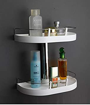 CIPLA PLAST Ciplaplast Wall Mounted Multipurpose 2 Layer Bathroom Rack/ Shelf with Stainless Steel Supporting Rod   Caddy  White