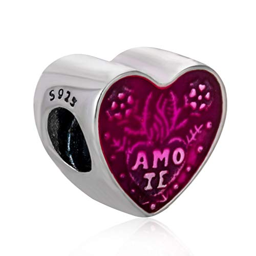 Silver Charm Embedded in Charming Enamel,The Captivating Latin Love Heart Charm Featuring The Words Amo Te in Latin. Heart-Shaped Beads are fit for All Kinds of Pandora Bracelets. ()