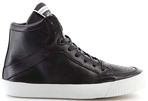 Philippe Model Zapatos Sneaker Hombre Paris Knicks Veau Noir Blanc Made In Italy