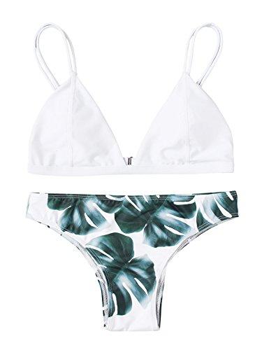 SweatyRocks Women's Sexy Bikini Swimsuit V Neck Leaves Printing Double Straps Swimwear Set White - No Bikini Strap