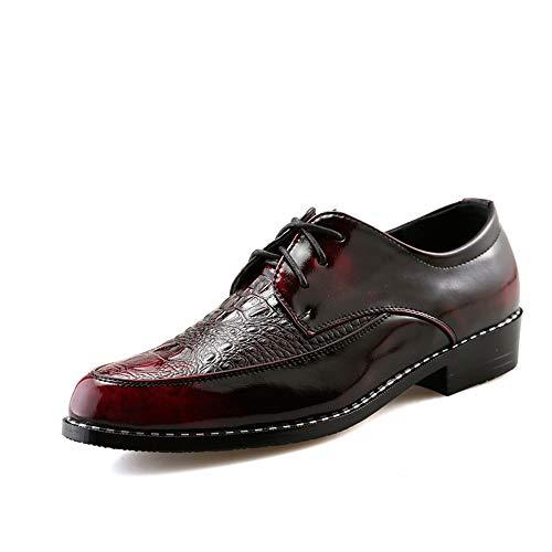 rouge marron 42 EU CHENDX Chaussures, La Mode des Hommes de Style Britannique Lace Up Oxford Décontracté personnalité avec Avant Chaussures de Loisirs en Plein air d'impression de Crocodile