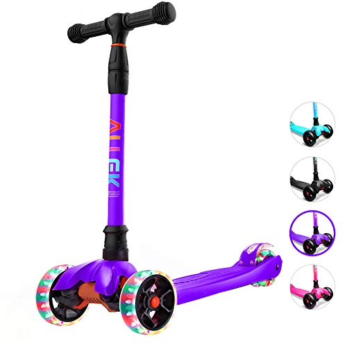 Allek Kick Scooter, Lean 'N Glide Scooter Extra Wide PU Light-Up Wheels 4 Adjustable Heights Children from 3-14yrs (Purple)