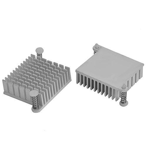 DealMux Aluminium-Kühlkörper Kühlrippenkühler 36mm x 36mm x 13mm 2 Stück Silber Ton