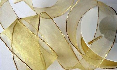 SCHLEIFENBAND 25m x 40mm GOLD - GOLD Organzaband Geschenkband DEKOBAND Organza