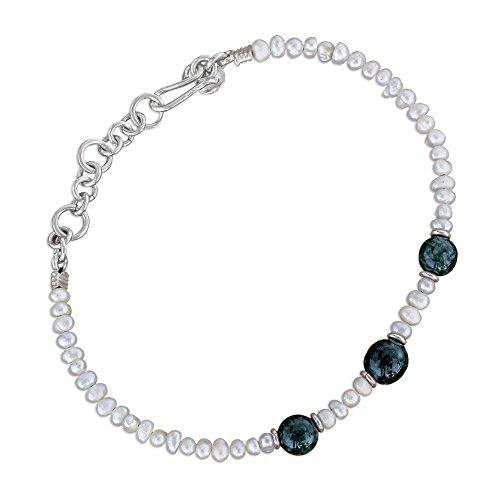 (NOVICA Jade Cultured Freshwater Pearl .925 Sterling Silver Beaded Bracelet, 6.5