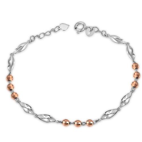 14K Or blanc et rose Taille diamant Perles torsadées Segment Bracelet (6,5')