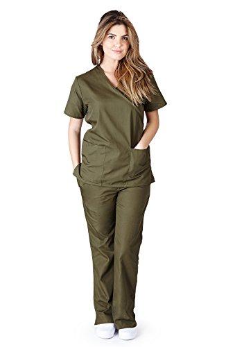 - Natural Uniforms Women's Mock Wrap Scrub Set (Olive) (XX-Large)