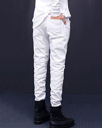 Casual Straight Jeans Pantaloni Distrutto Skinny Decorative Bianco Uomo Stile Cuciture wX8n8q5S6
