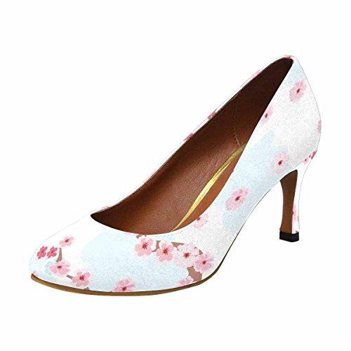 InterestPrint Womens Classic Fashion High Heel Dress Pump Cherry Blossoms Background bjDaTo