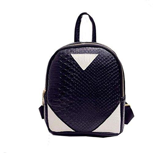 Women Serpentine Canvas School Bag Backpack concise Black Shoulder Rucksack Book Kemilove ZqwI1Z