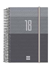 Finocam Espiral Year - Agenda 2018 día página, euskera, 155 x 215 mm, 70 g/m², color negro