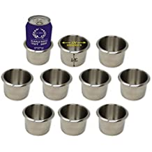 Da Vinci Lot of 10 Drop-in Stainless Steel Poker Table Cup Holders, Fits Standard Soda Can or Beer Bottle