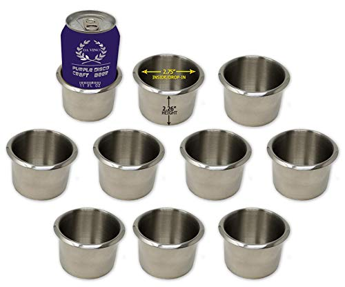 Da Vinci Lot of 10 Drop-in Stainless Steel Poker Table Cup Holders, Fits Standard Soda Can or Beer - Brushed Aluminum Inserts